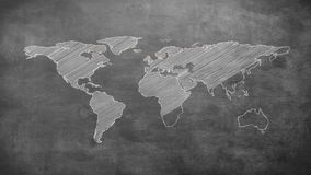Grey shape of world map. On grey screen stock video