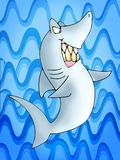 Grey Shark. Illustration of Grey Reef Shark on sea blue background Stock Image