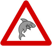 A grey shark with warning sign Royalty Free Stock Photography