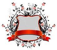 Grey shield and roses, vector Stock Photos
