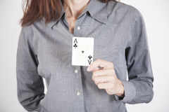 Grey shirt woman with ace card Stock Photo