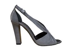 Grey shoes with high heels Royalty Free Stock Image
