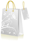 Grey shopping bag Stock Images