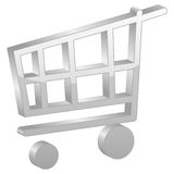 Grey shopping cart symbol Stock Image