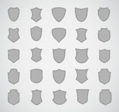 Grey silhouette shield design set of various Royalty Free Stock Image