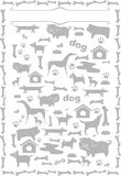 Grey silhouettes of dogs. Set of silhouettes of dogs. Household Pets. Symbols. Frame royalty free illustration