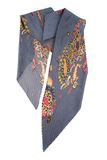Grey silk scarf with colors on a white background Stock Image