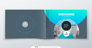 Grey silver Brochure design. Horizontal cover template for brochure, report, catalog, magazine. Layout with gradient. Circle shapes and abstract photo royalty free illustration