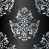 Grey and silver victorian pattern. Victorian pattern with detailed silver-leaf design on anthracite gradient background. Graphics are grouped and in several vector illustration