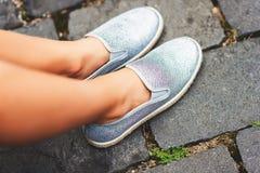 Grey skate shoes Royalty Free Stock Photo
