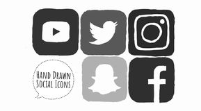 Grey Sketched Social Media Icons. Hand drawn, sketched monochrome social media icons for Youtube, Snapchat, Instagram and Facebook. Ready for use on the web and stock illustration
