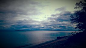Grey skies. Blocking the sun on lake Superior Royalty Free Stock Photo