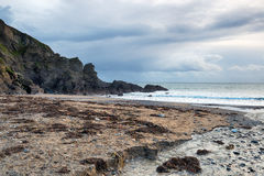 Grey Skies Over Hemmick Beach Stock Images