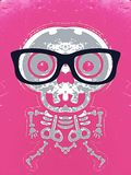 Grey skull and bone with pink background. Grey skull and bone with black glasses and pink background Stock Images