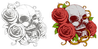 Grey skull with red roses tattoo Stock Photo