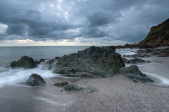 Grey Sky over Portwrinkle in Cornwall Royalty Free Stock Photography