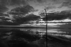 Grey Sky Stick Cross Imagenes de archivo