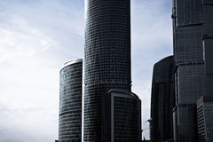 Grey skyscrapers business centre in Moscow Royalty Free Stock Images