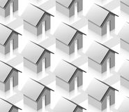 Grey small isometric houses seamless pattern Stock Image
