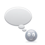 Grey smiley with speech bubbles Royalty Free Stock Photography