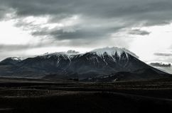 Grey Snowy Mountain Under Grey Sky Stock Images