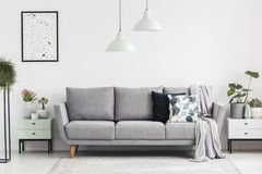 Grey sofa between cabinets with plants in white living room interior with lamps and poster. Real photo. Concept stock photography