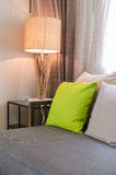 Grey sofa with green pillow in living room Royalty Free Stock Photos