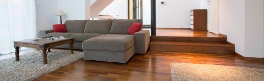Grey sofa inside spacious interior Royalty Free Stock Photos