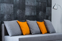 Grey sofa in living room Royalty Free Stock Photography