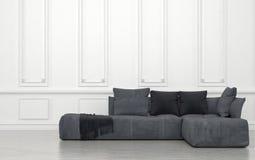 Grey Sofa mit Kissen-Raum mit weißen Wänden Stockfotografie