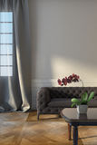 Grey Sofa Near Window Stock Photography