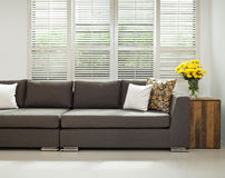 Grey sofa in simple setting Royalty Free Stock Photo