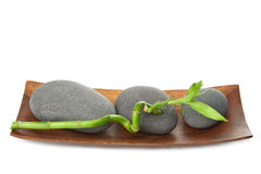 Grey spa stones and bamboo isolated Stock Photography