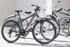 Grey sport bikes in the city parking stock image