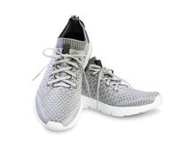 Grey sport male pair shoes isolated. Stock Image