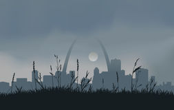 Grey St. Louis Sunset. Downtown St. Louis with a gray overcast sky and the sun peaking through the clouds Stock Photos