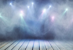 Grey stage. Abstract grey stage with smoke and spot lights. Presentation concept royalty free stock image