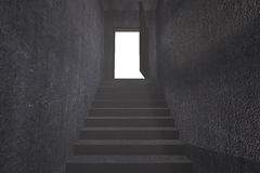 Grey staircase leading to open door Stock Photography