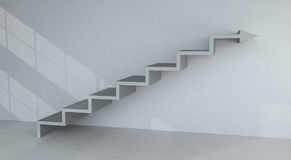 Grey stairs arrow going up on concrete wall 3D rendering. Grey stairs arrow going up on concrete wall and bright interior 3D rendering Stock Photo