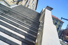 Grey stairs and blue sky. Composition with grey stairs and blue sky Royalty Free Stock Photography