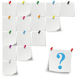 Grey Stickers Colored Pins Question Stock Images