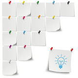 Grey Stickers Colored Thumbtack Bulb Stock Images