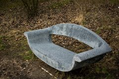 Grey Stone Bench In the Forest Woods Trees Leafes View stock photography