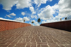 Grey stone floor with cloud and blue sky Stock Images