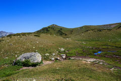 Grey stone and small blue lake in green grass alps Stock Photo