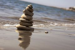 Grey stones in a balance condition Stock Photography