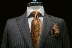 Grey Striped Jacket with Yellow Tie (horizontal) Royalty Free Stock Photo