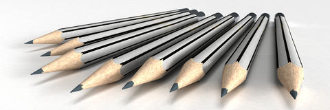 Grey stripped classic pencils Royalty Free Stock Image
