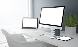 Grey studio devices with blank screen. 3d rendering of desktop with all devices showing blank screen stock photos