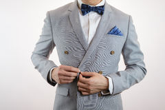 Grey suit plaid texture, bowtie, pocket square. Man in grey suit, plaid texture, blue bowtie and pocket square, close up white background Royalty Free Stock Photo